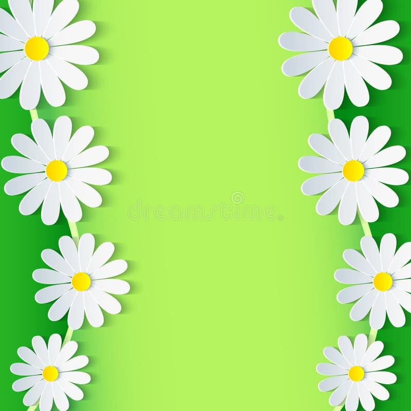 Marco verde floral con la flor de la manzanilla 3d stock de ilustración