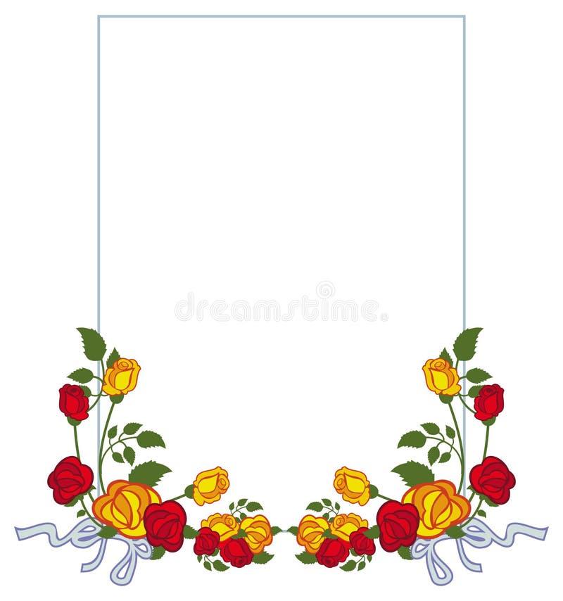 Marco Vertical Con Las Rosas Rojas Y Amarillas Foto de archivo ...