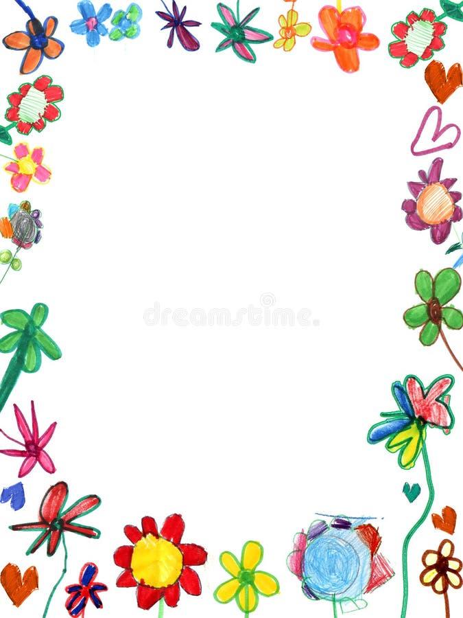 Marco Vertical De Las Flores, Ilustración Del Niño Foto de archivo ...