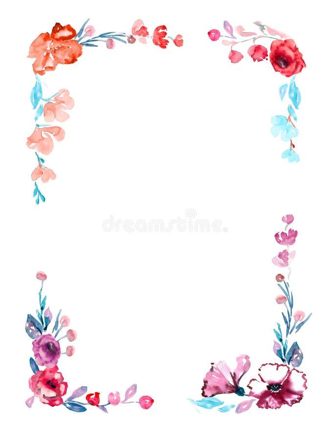 Marco Vertical De Las Flores De Las Rosas Y Malva, Hojas Del Azul Y ...