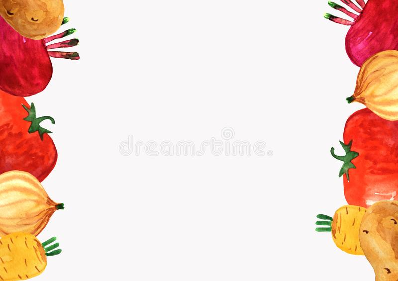 Marco vertical de verduras en un fondo blanco ilustración del vector