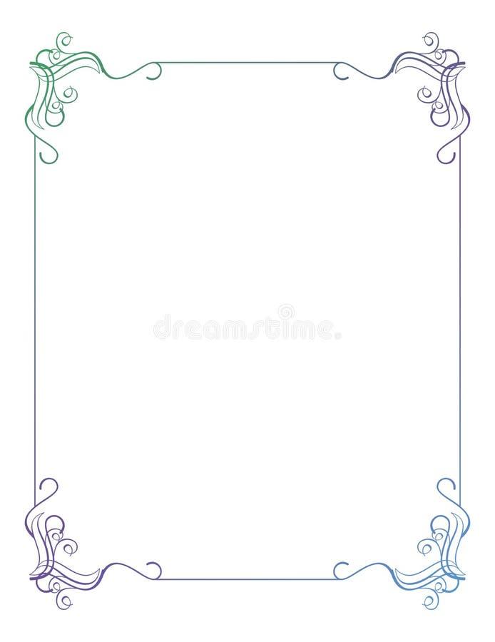 Marco vertical hermoso con el terraplén de la pendiente stock de ilustración