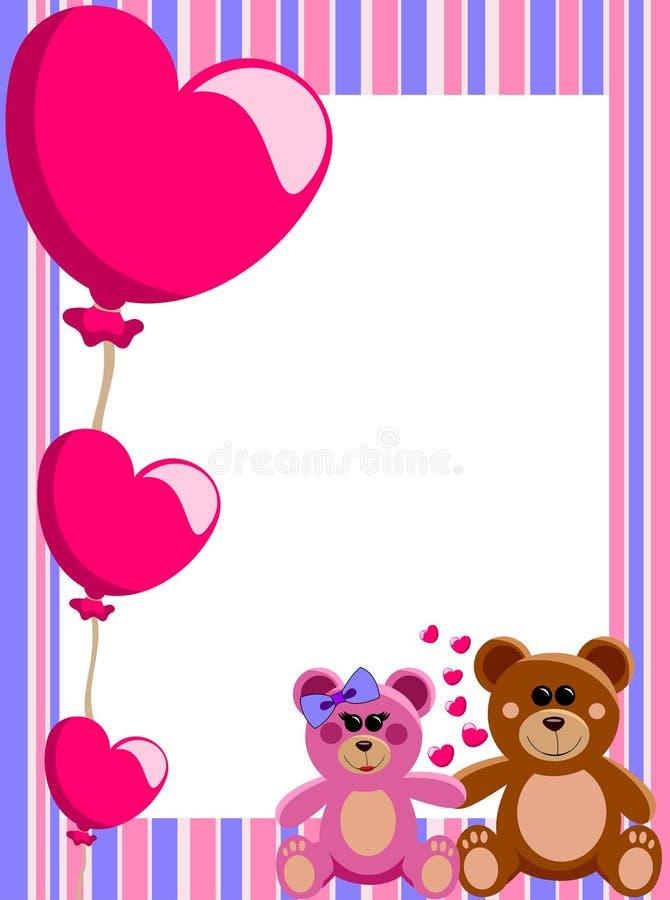 Marco Vertical Teddy Bears Del Amor Ilustración del Vector ...