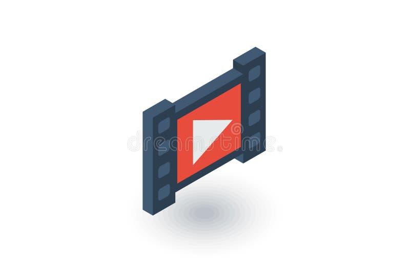 Marco video, película, película, cine, medio, icono plano isométrico del jugador vector 3d stock de ilustración