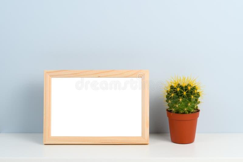 Marco y cactus de madera de la foto imágenes de archivo libres de regalías
