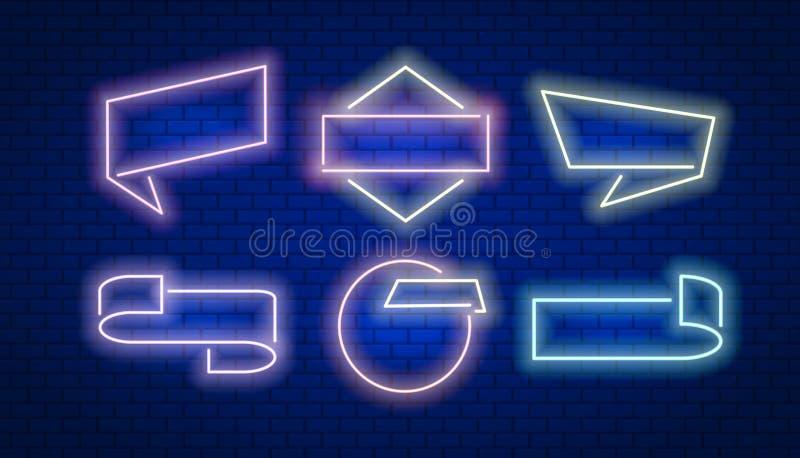 Marco y cinta de las banderas de la venta en el estilo de neón con los elementos gráficos modernos L?nea arte Dise?o del ejemplo  stock de ilustración