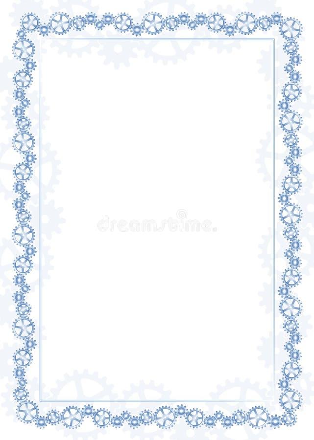 Marco y frontera azules con el mecanismo con engranaje stock de ilustración