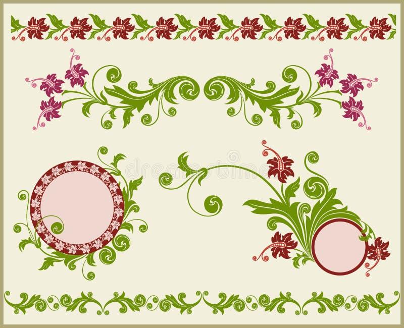 Marco y frontera florales. stock de ilustración