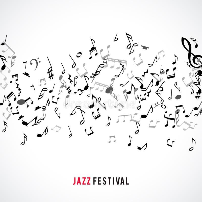 Marco y frontera musicales abstractos con las notas negras sobre el fondo blanco stock de ilustración