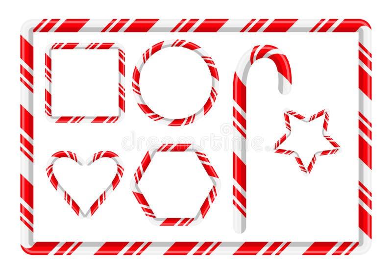 Marco y más del bastón de caramelo para el diseño de la Navidad aislado en blanco stock de ilustración