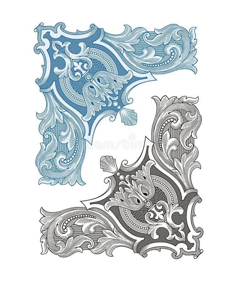 Marco y ornamento de la esquina del vintage ilustración del vector