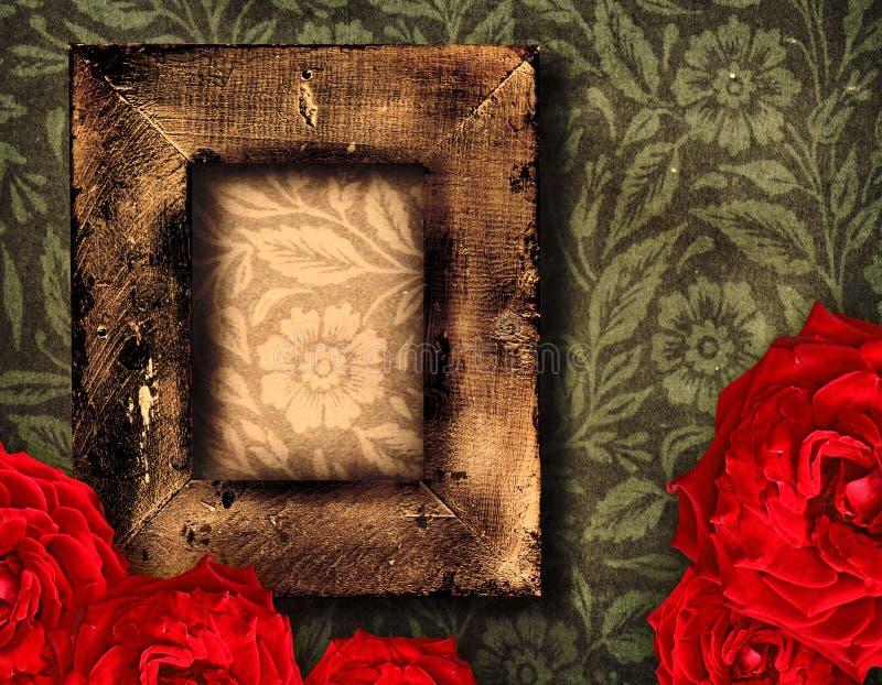 Marco y rosas de Grunge imagen de archivo libre de regalías