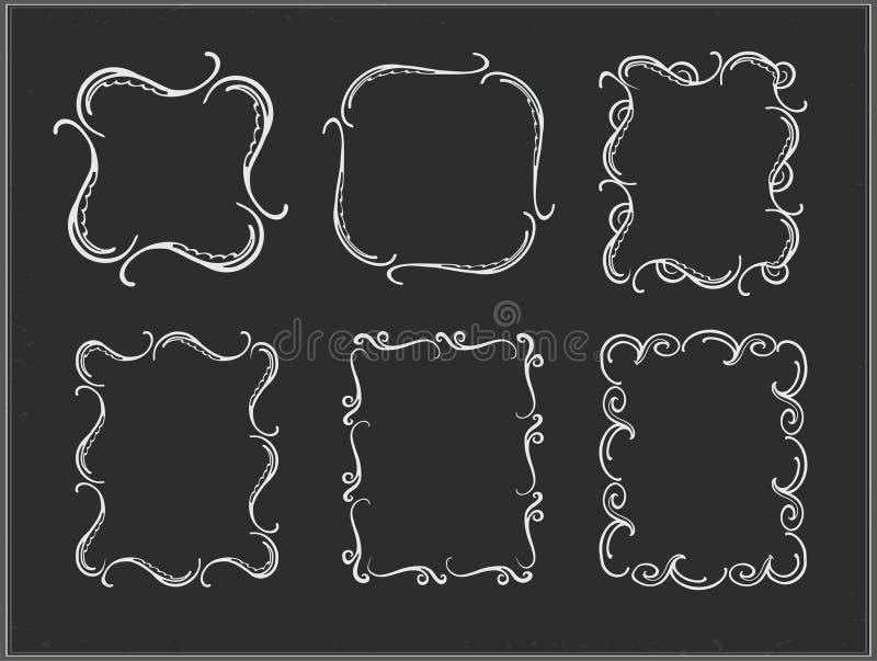 Marcos adornados de la tiza del vector libre illustration