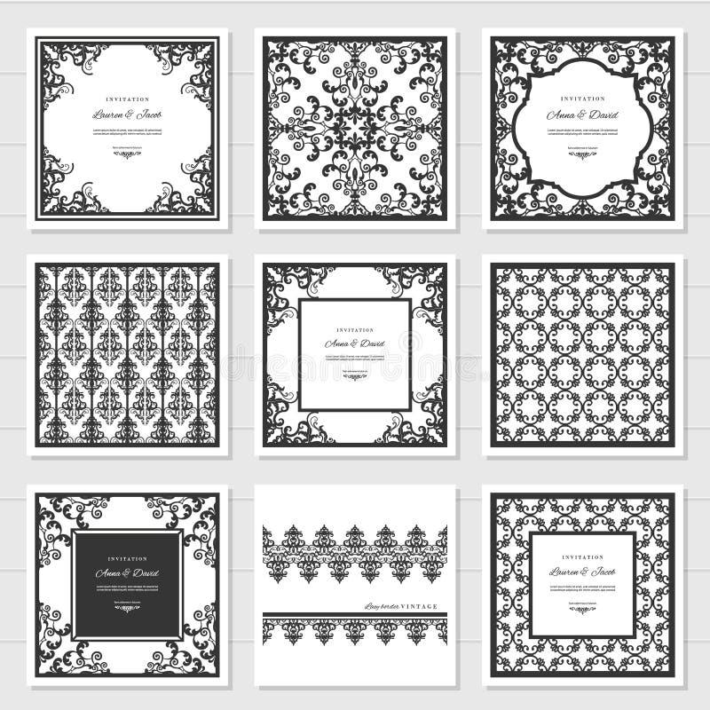 Marcos afiligranados y los paneles decorativos fijados Diseño del corte del laser Invitación de la boda damasco vendimia stock de ilustración