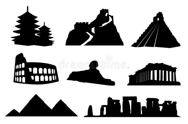 Marcos antigos do mundo isolados ilustração royalty free