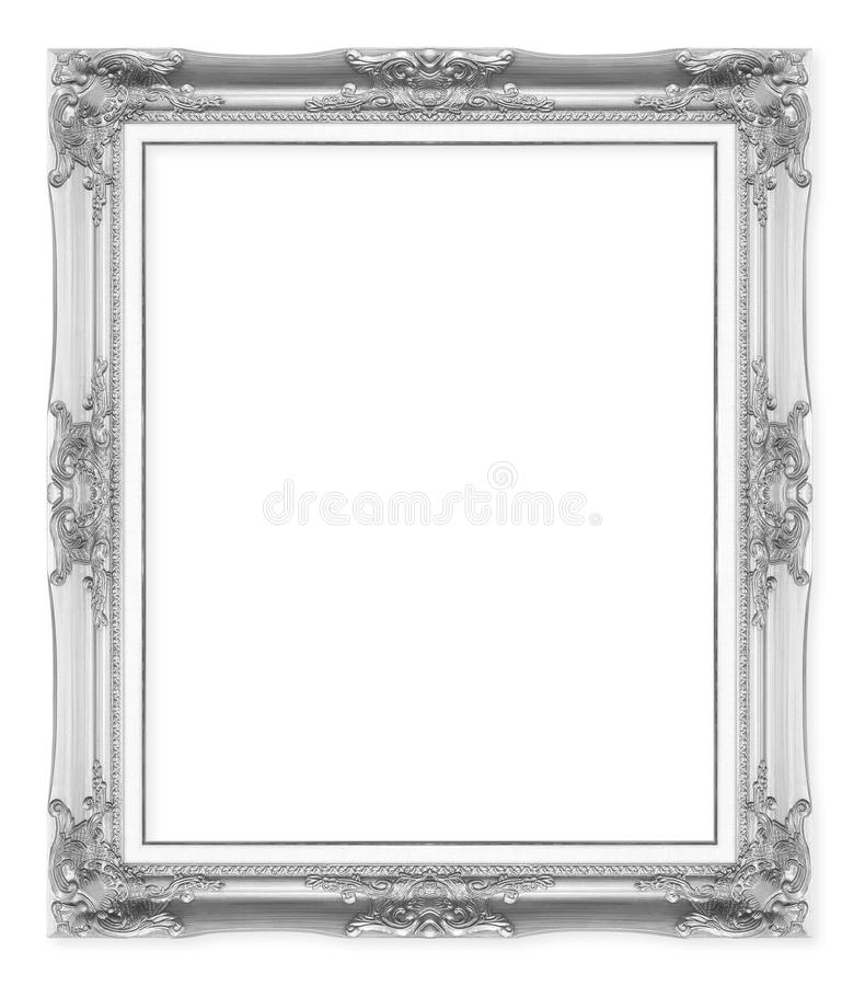 Marcos antiguos de plata Aislado en blanco imágenes de archivo libres de regalías