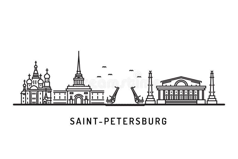 Marcos arquitetónicos da skyline de St Petersburg ilustração royalty free