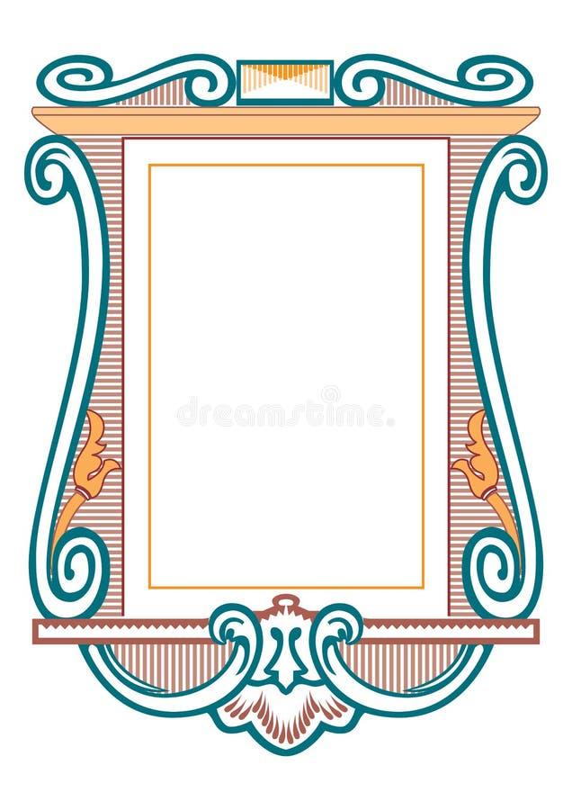 Marcos barrocos y elementos decorativos - bandera del vintage con la cinta ilustración del vector