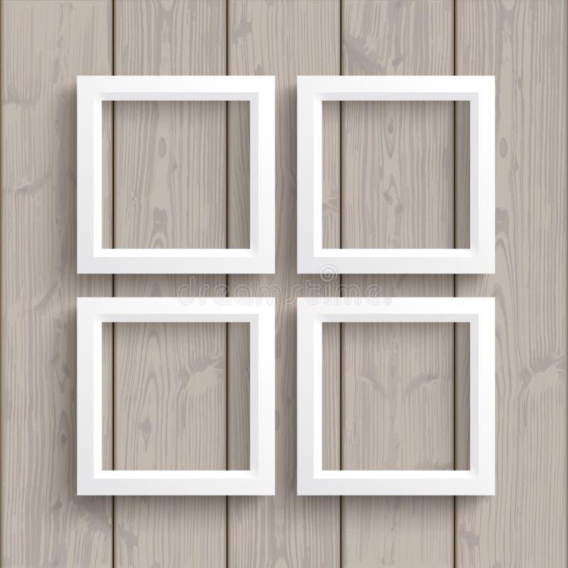 4 marcos blancos de madera ilustración del vector. Ilustración de ...