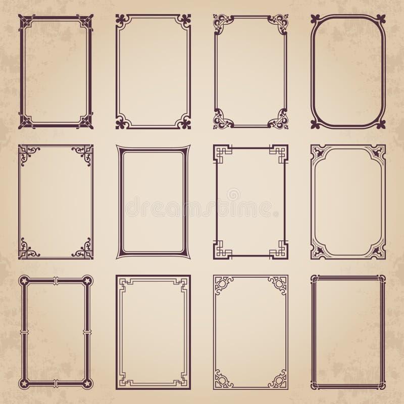 Marcos caligráficos decorativos en el estilo retro - sistema del vector libre illustration