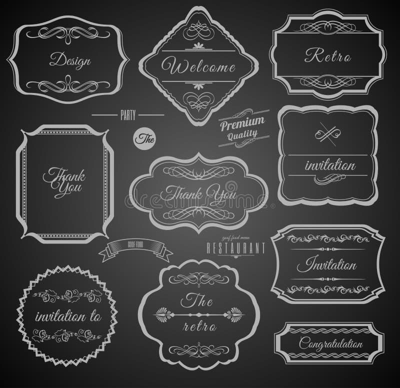 Marcos caligráficos del vintage con los elementos del diseño stock de ilustración