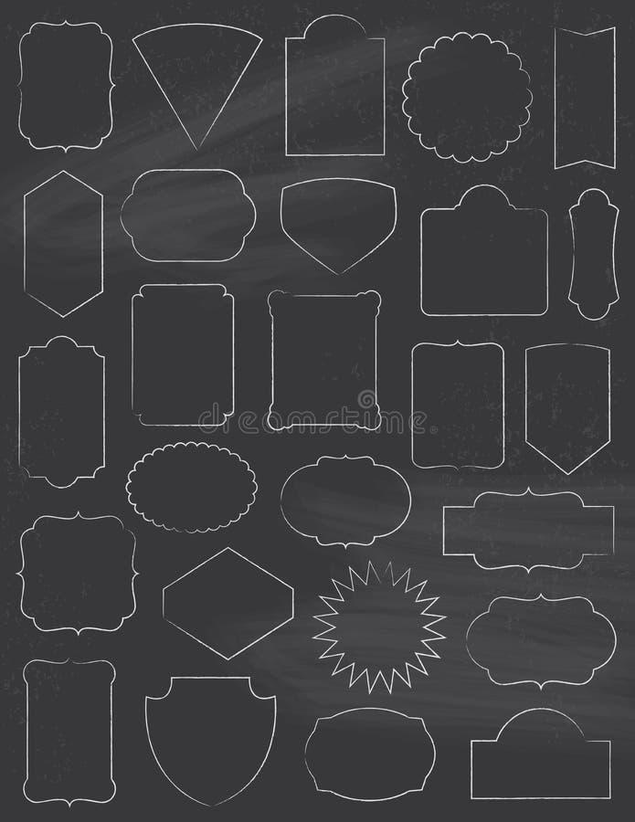 Marcos clásicos de la pizarra fijados fotos de archivo libres de regalías