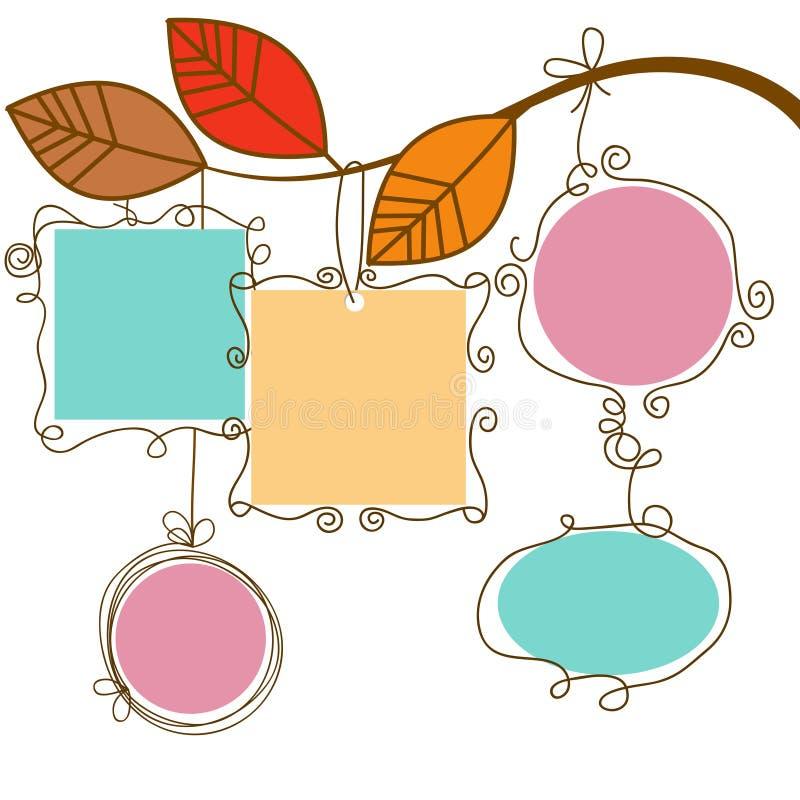 Marcos colgantes de la ramificación de árbol stock de ilustración