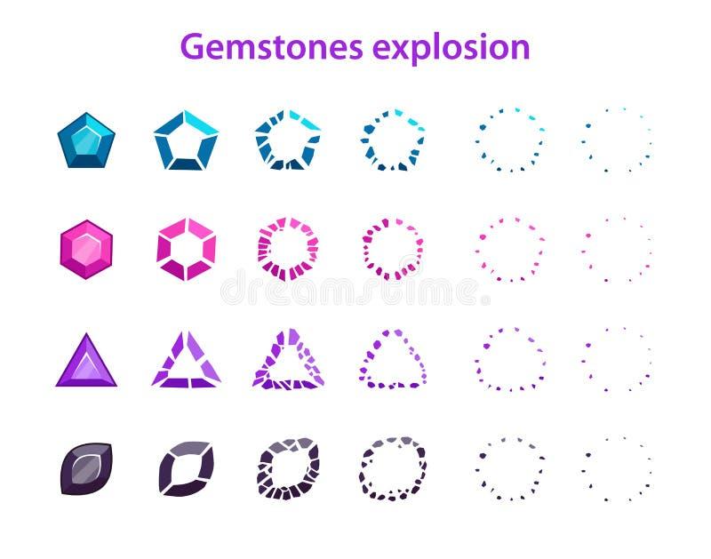 Marcos coloridos de la explosión de las piedras preciosas de la historieta stock de ilustración