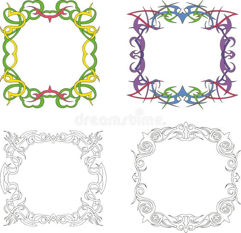 Marcos cuadrados de la decoración ilustración del vector