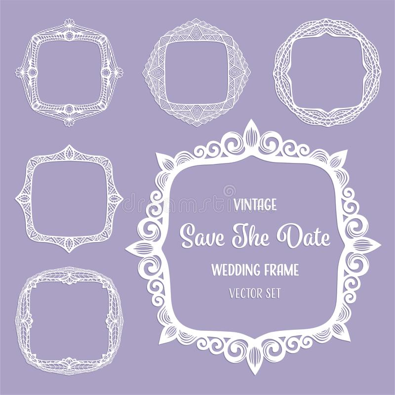 Marcos cuadrados del vintage, fronteras del art déco para la tarjeta elegante de la invitación de la boda, texto, foto Sistema de libre illustration