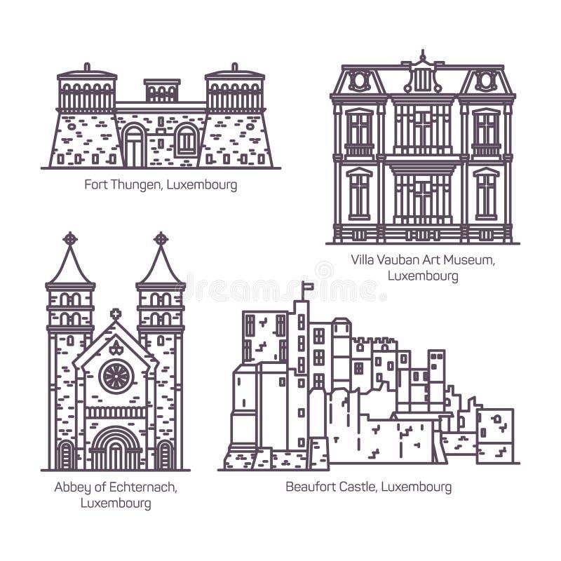 Marcos da arquitetura de Luxemburgo na linha fina ilustração royalty free