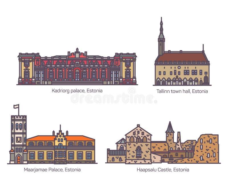 Marcos da construção de Estônia Grupo do castelo ou do palácio ilustração stock