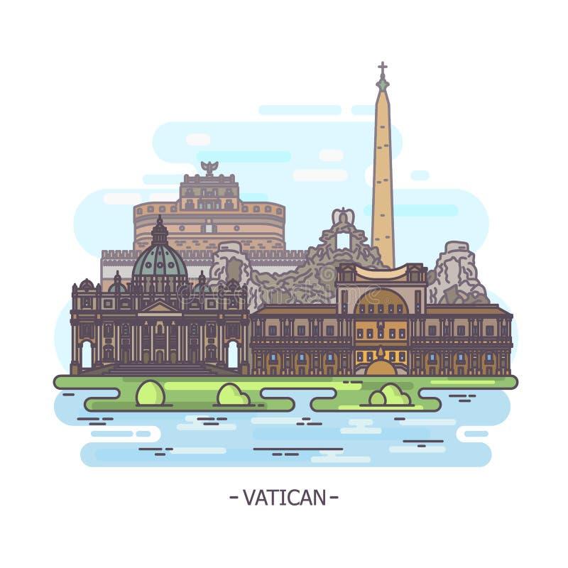 Marcos da religião de Cidade Estado do Vaticano, arquitetura ilustração stock