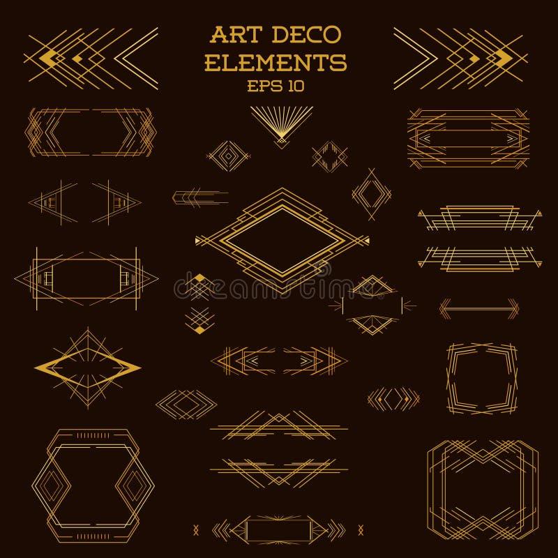 Marcos de Art Deco Vintage y elementos del diseño ilustración del vector