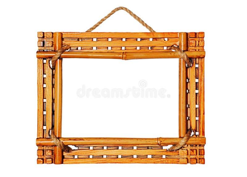 Marcos de bambú de la foto aislados en el fondo blanco fotografía de archivo libre de regalías