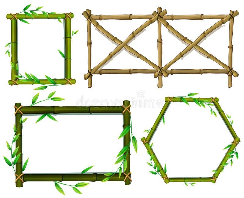 Marcos de bambú verdes y marrones ilustración del vector