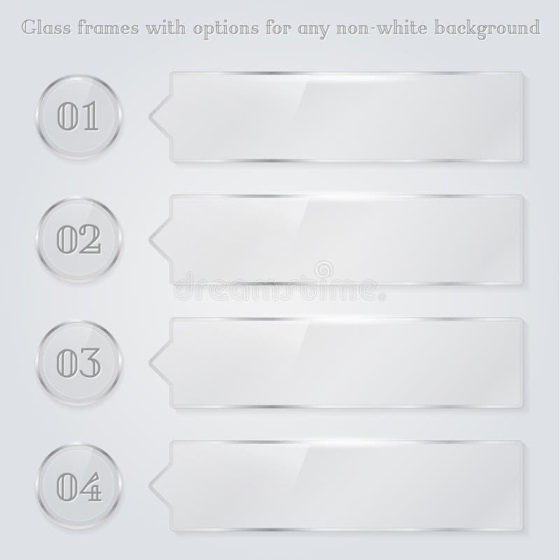 Marcos de cristal transparentes con números de opción ilustración del vector