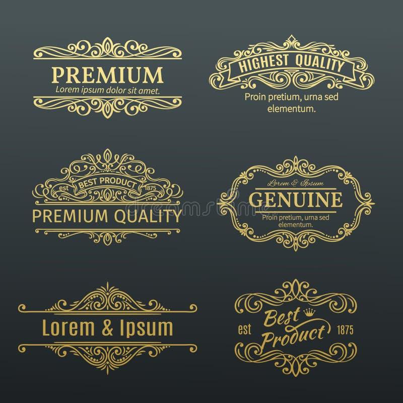 Marcos de etiquetas de oro de las banderas del vector del vintage stock de ilustración