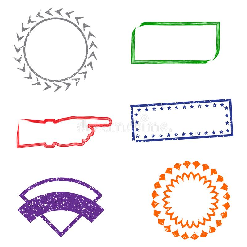 Marcos de goma del grunge de los sellos en el fondo blanco Seis marcos de los sellos para las presentaciones, los aviadores, los  ilustración del vector