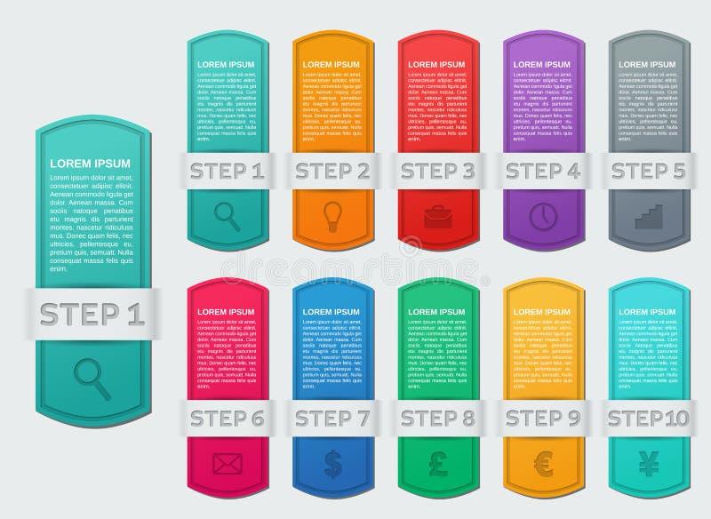 Marcos de Infographics Optio infographic de las plantillas 5 de las flechas del vector ilustración del vector