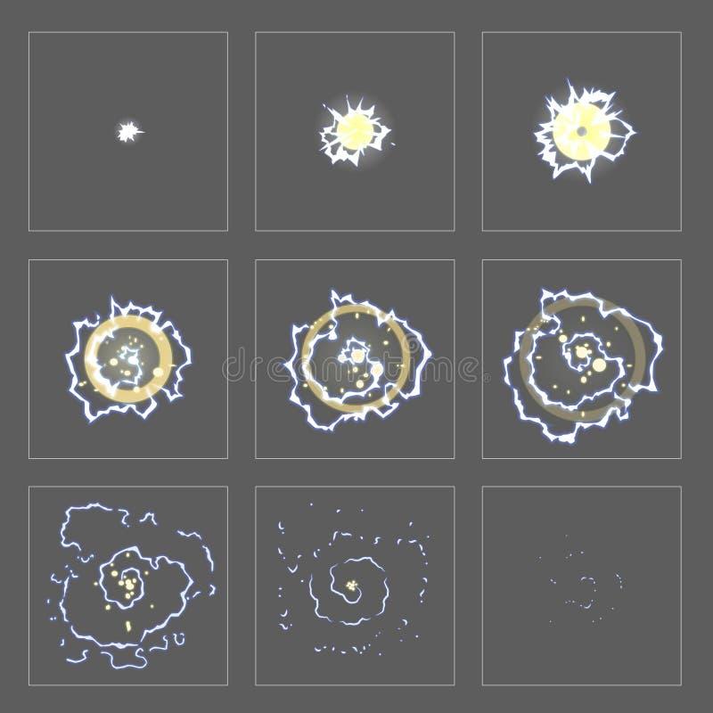 Marcos de la animación del efecto especial de la explosión del relámpago libre illustration
