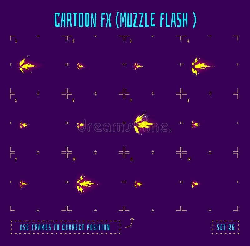 Marcos de la animación o sprites del flash de bozal stock de ilustración