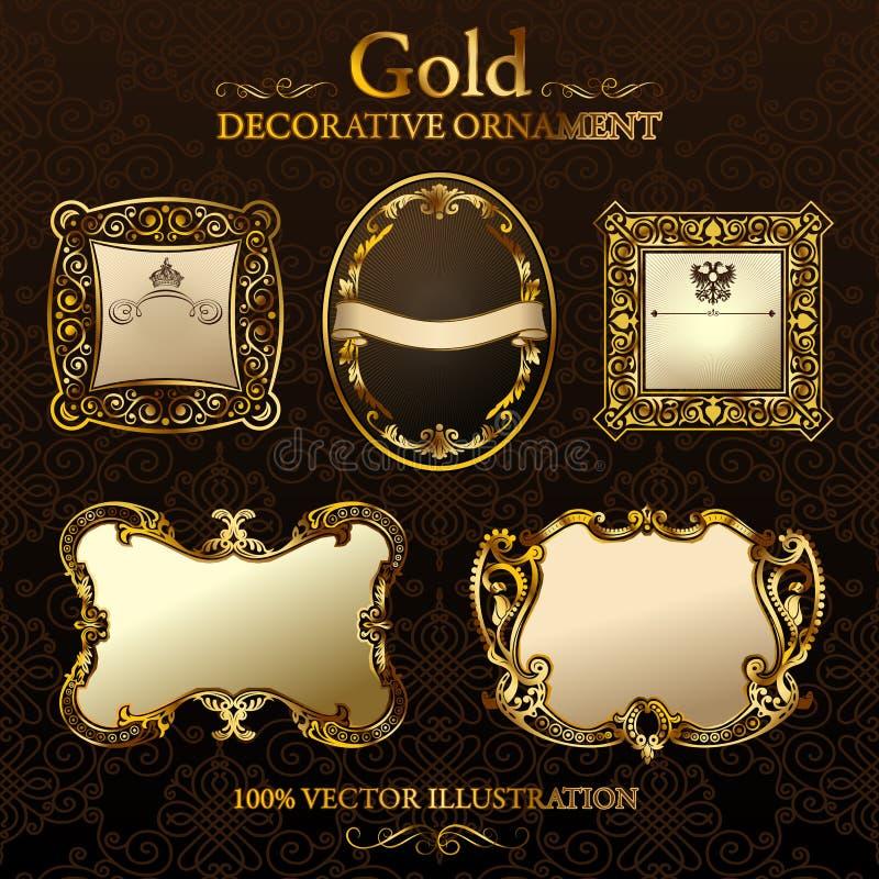 Marcos de la decoración de la vendimia. Escritura de la etiqueta del ornamento del oro stock de ilustración