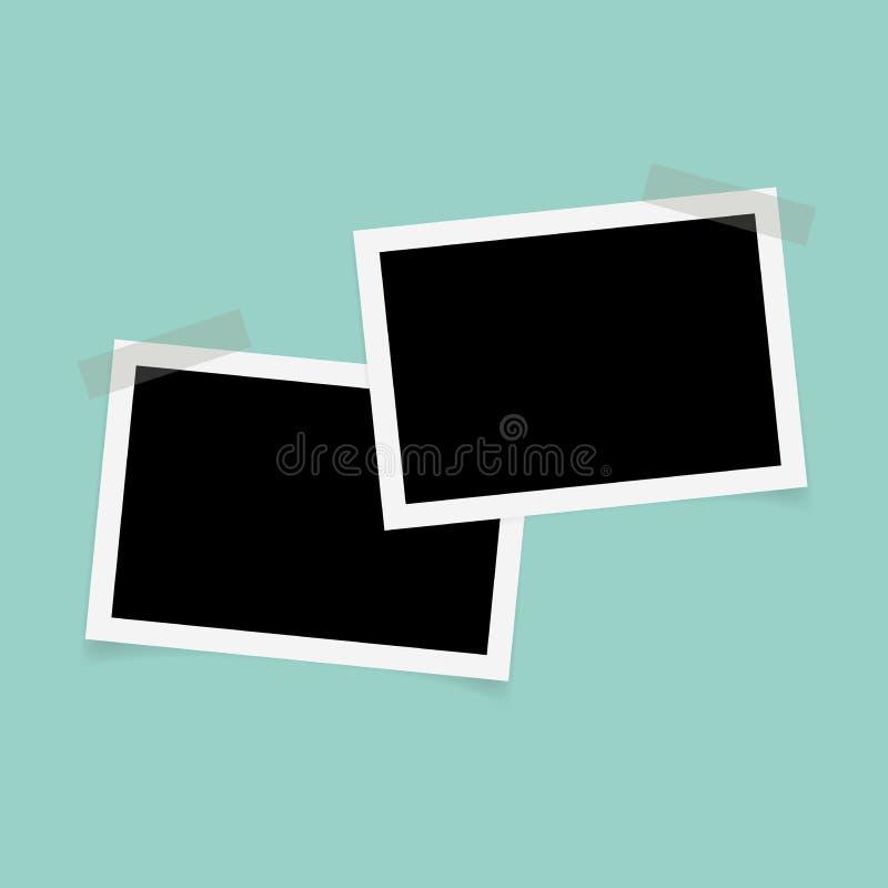 Marcos de la foto del rectángulo con la cinta pegajosa en fondo verde libre illustration