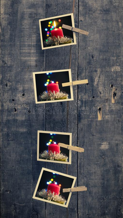 Marcos de la foto de Fourold con las velas del advenimiento foto de archivo