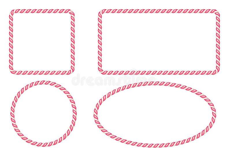 Marcos de la frontera del bastón de caramelo fijados Ilustración del vector libre illustration