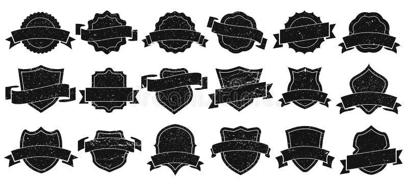 Marcos de la insignia del vintage Las insignias del Grunge, el marco retro del emblema del logotipo y la silueta vieja del emblem ilustración del vector