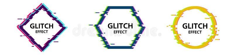 Marcos de la interferencia del vector fijados Formas geométricas con efecto de la distorsión de la TV libre illustration