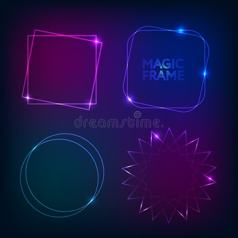 Marcos de la luz del oro y forma mágica de los elementos stock de ilustración