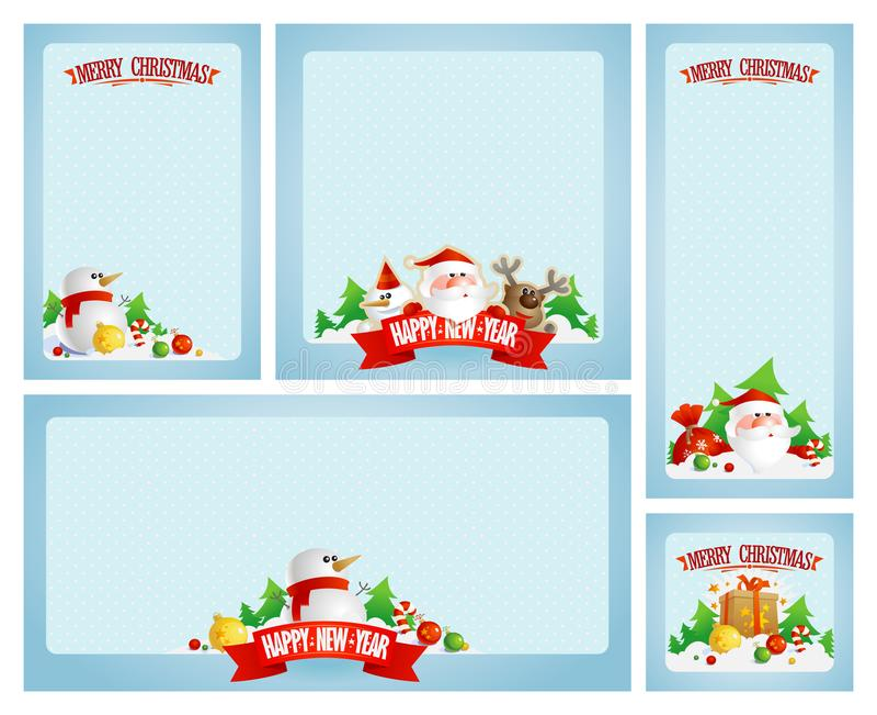 Marcos de la Navidad fijados con Papá Noel ilustración del vector